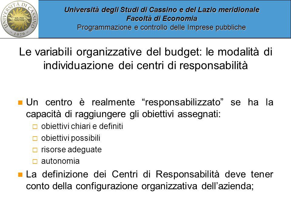 Le variabili organizzative del budget: le modalità di individuazione dei centri di responsabilità