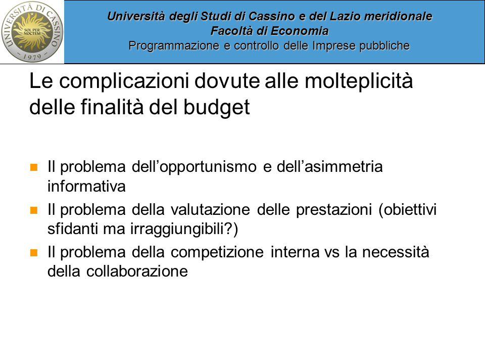 Le complicazioni dovute alle molteplicità delle finalità del budget