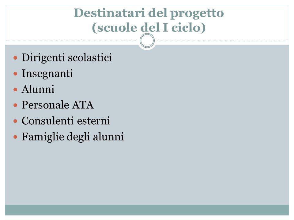 Destinatari del progetto (scuole del I ciclo)