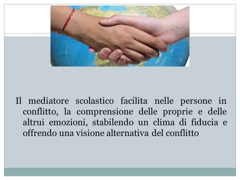 Il mediatore scolastico facilita nelle persone in conflitto, la comprensione delle proprie e delle altrui emozioni, stabilendo un clima di fiducia e offrendo una visione alternativa del conflitto