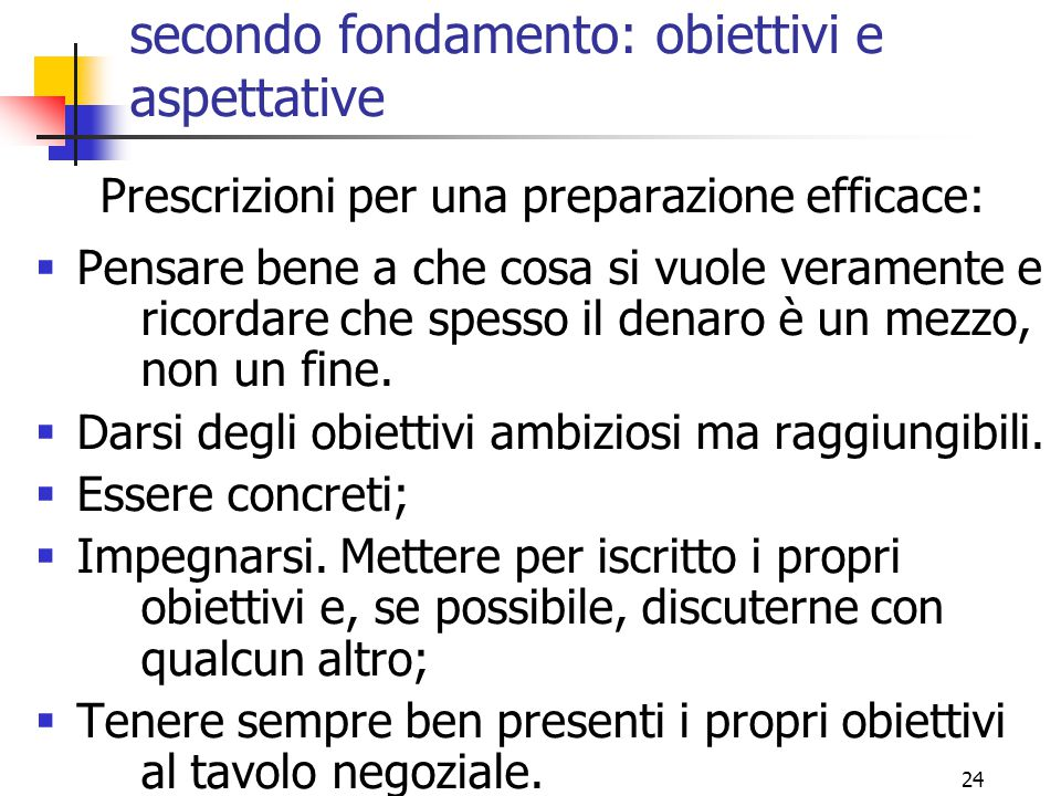secondo fondamento: obiettivi e aspettative