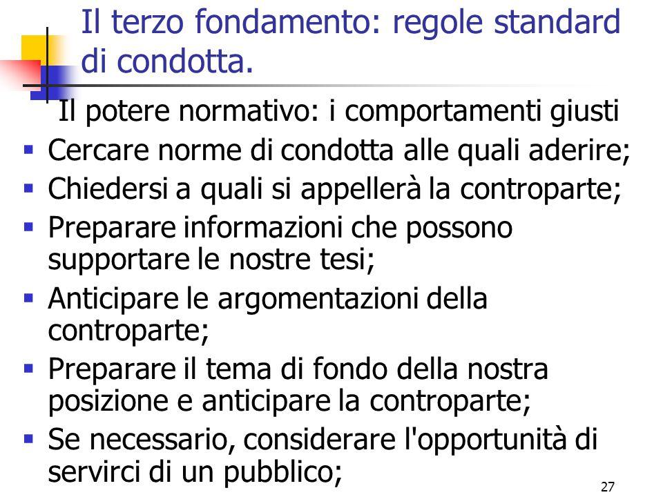 Il terzo fondamento: regole standard di condotta.