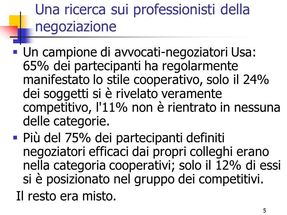 Una ricerca sui professionisti della negoziazione