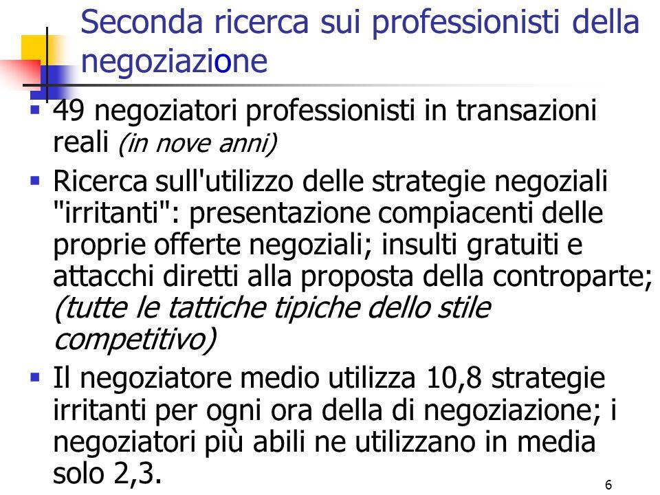 Seconda ricerca sui professionisti della negoziazione