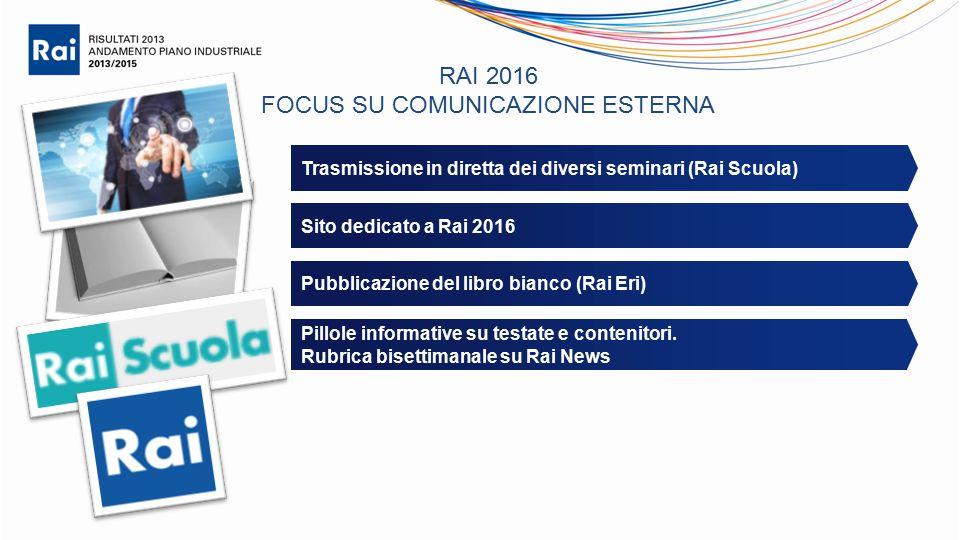 RAI 2016 FOCUS SU COMUNICAZIONE ESTERNA