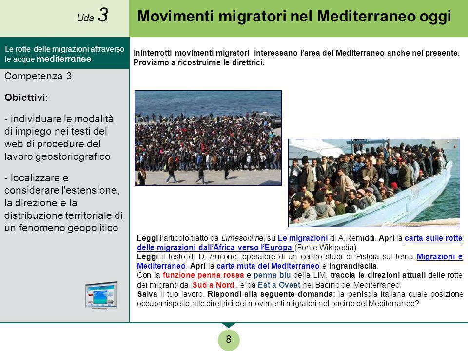 Movimenti migratori nel Mediterraneo oggi