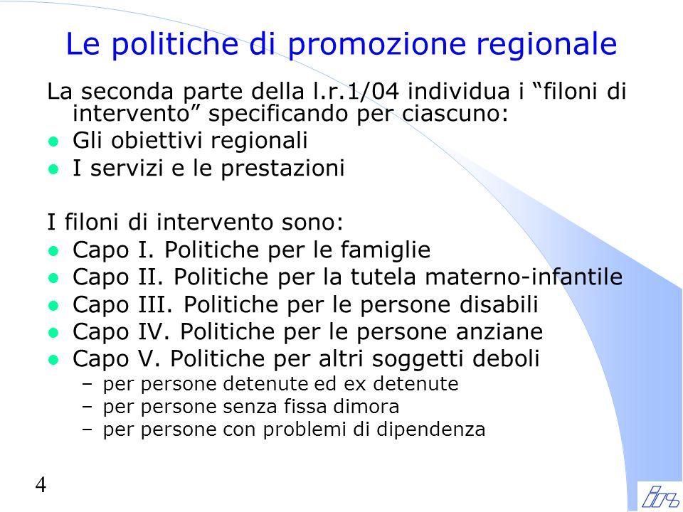 Le politiche di promozione regionale