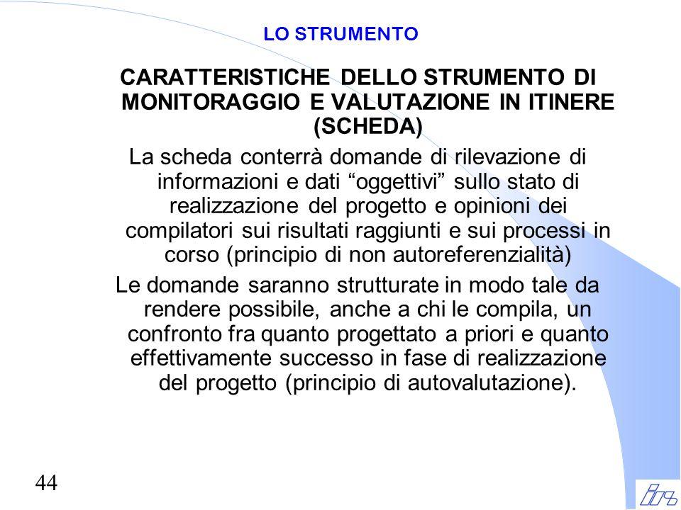 LO STRUMENTO CARATTERISTICHE DELLO STRUMENTO DI MONITORAGGIO E VALUTAZIONE IN ITINERE (SCHEDA)