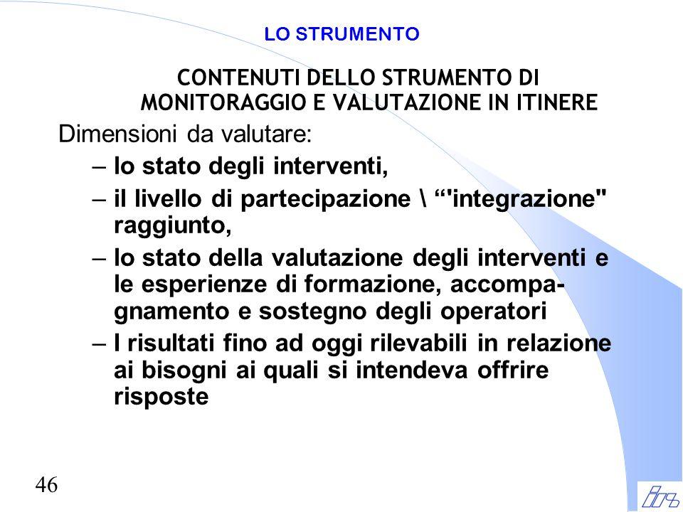 CONTENUTI DELLO STRUMENTO DI MONITORAGGIO E VALUTAZIONE IN ITINERE