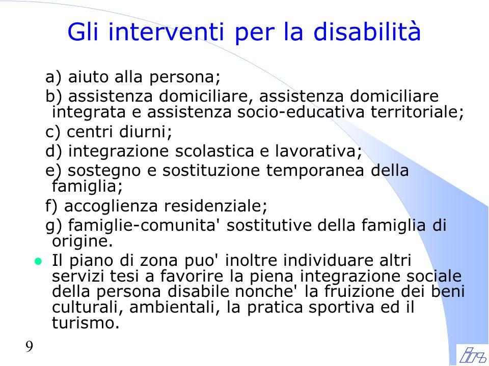 Gli interventi per la disabilità