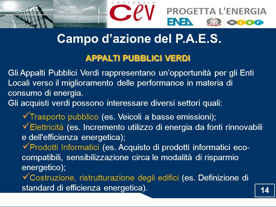 Campo d'azione del P.A.E.S. APPALTI PUBBLICI VERDI