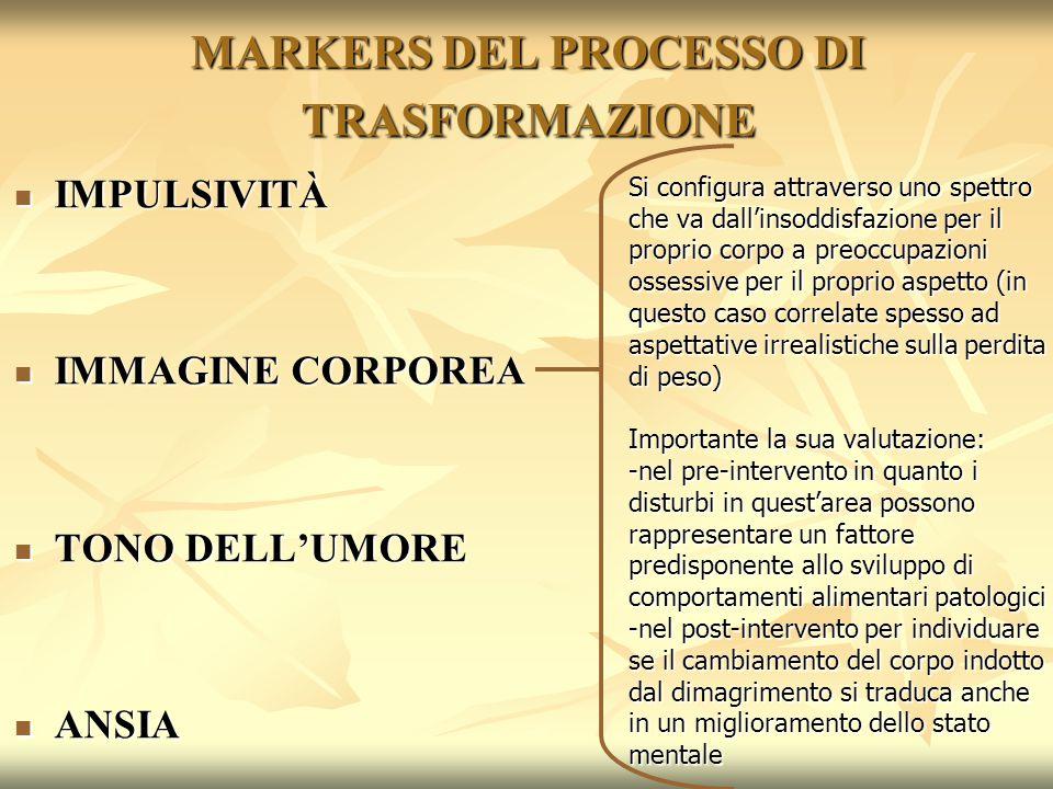 MARKERS DEL PROCESSO DI TRASFORMAZIONE