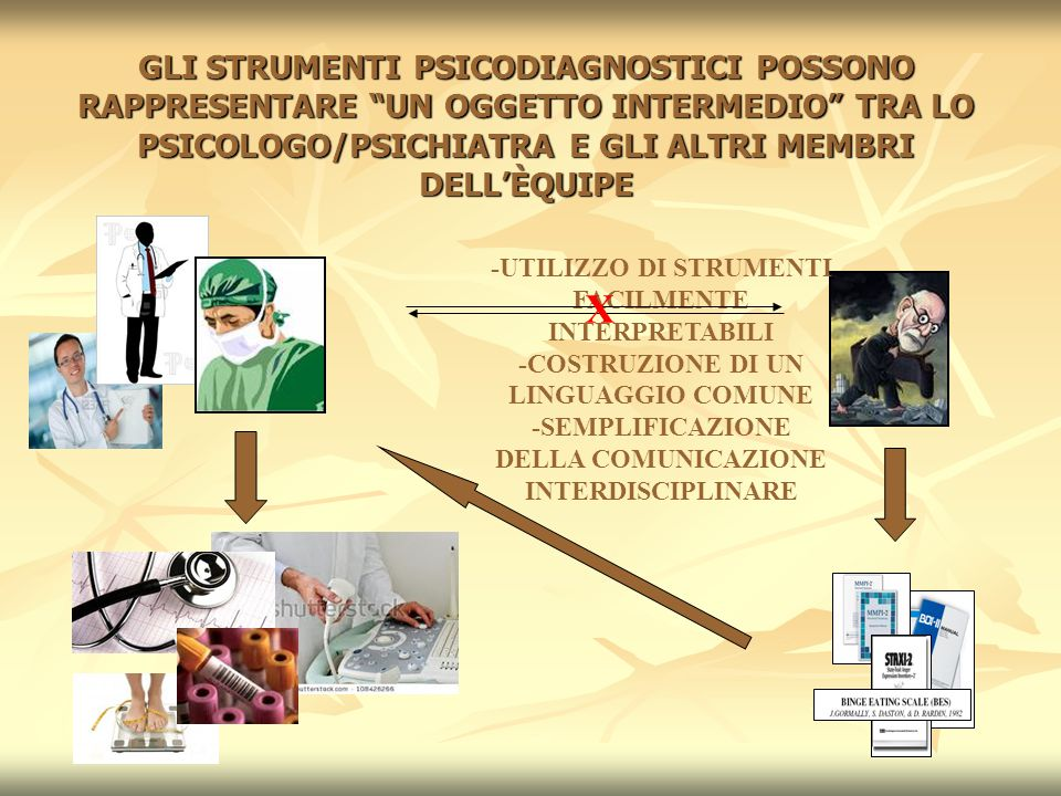 GLI STRUMENTI PSICODIAGNOSTICI POSSONO RAPPRESENTARE UN OGGETTO INTERMEDIO TRA LO PSICOLOGO/PSICHIATRA E GLI ALTRI MEMBRI DELL'ÈQUIPE