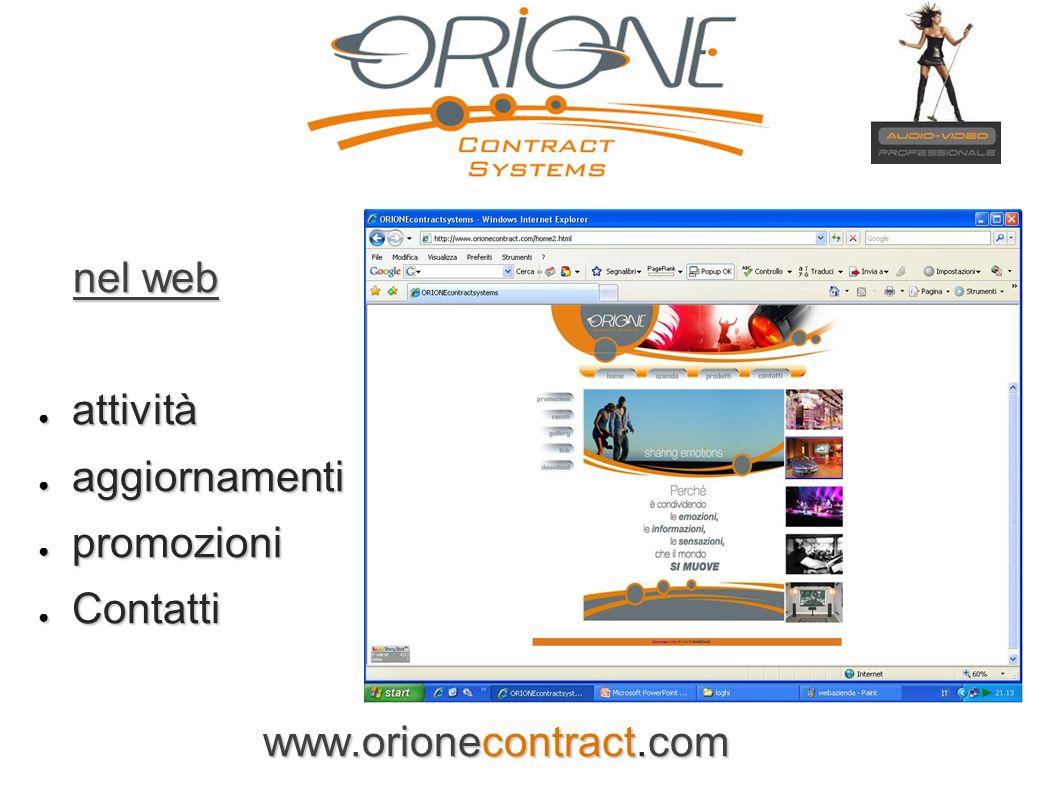 nel web attività aggiornamenti promozioni Contatti www.orionecontract.com