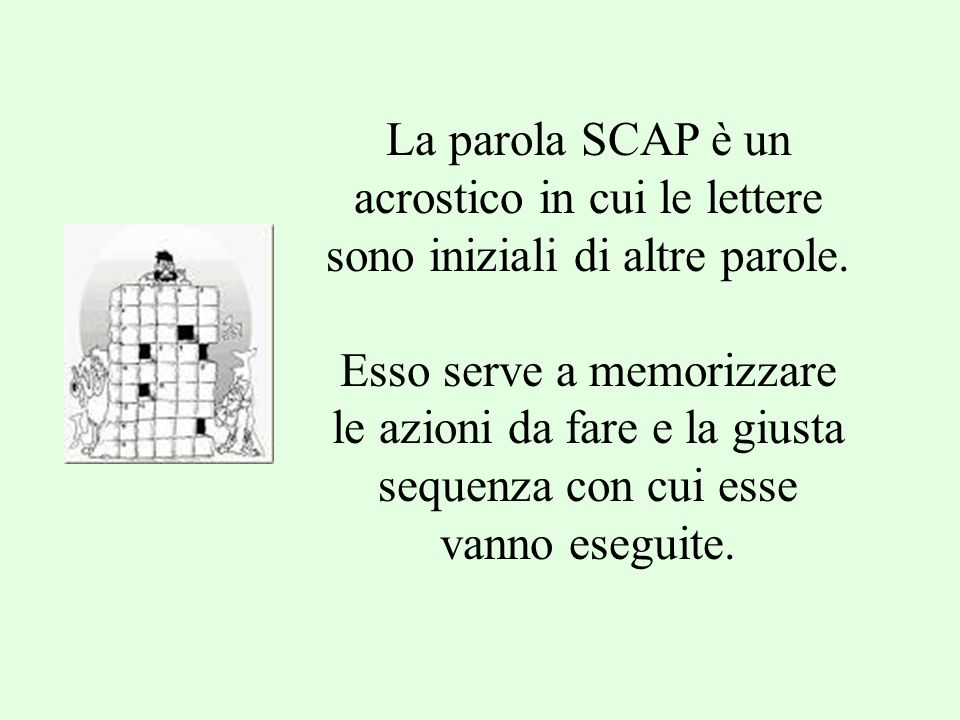 La parola SCAP è un acrostico in cui le lettere sono iniziali di altre parole.