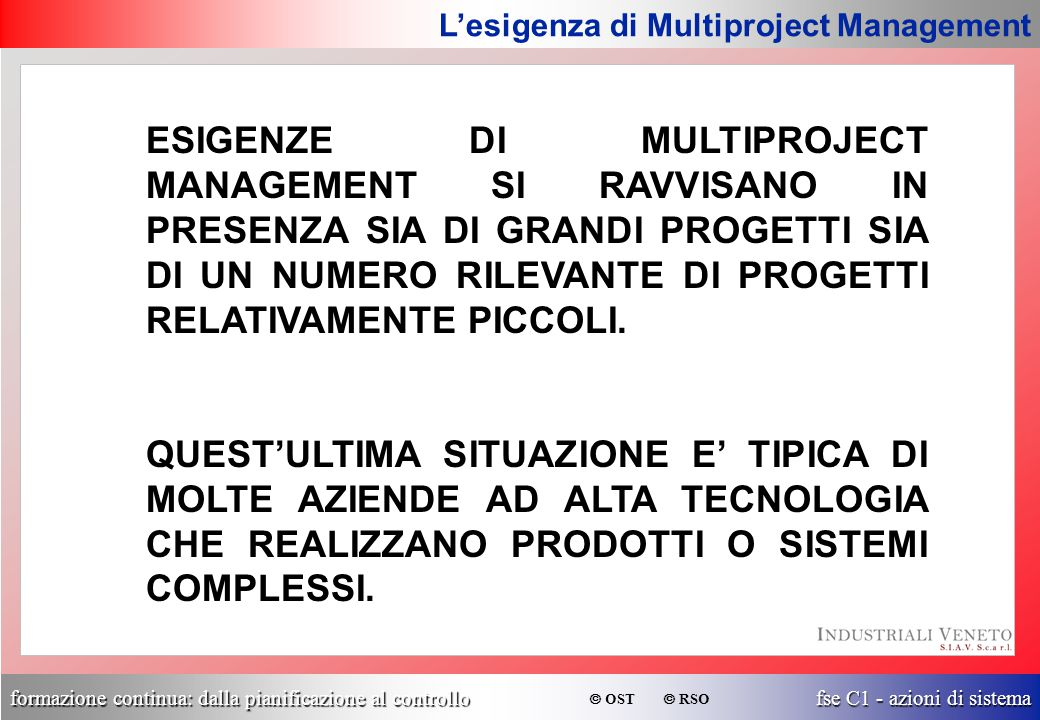 L'esigenza di Multiproject Management