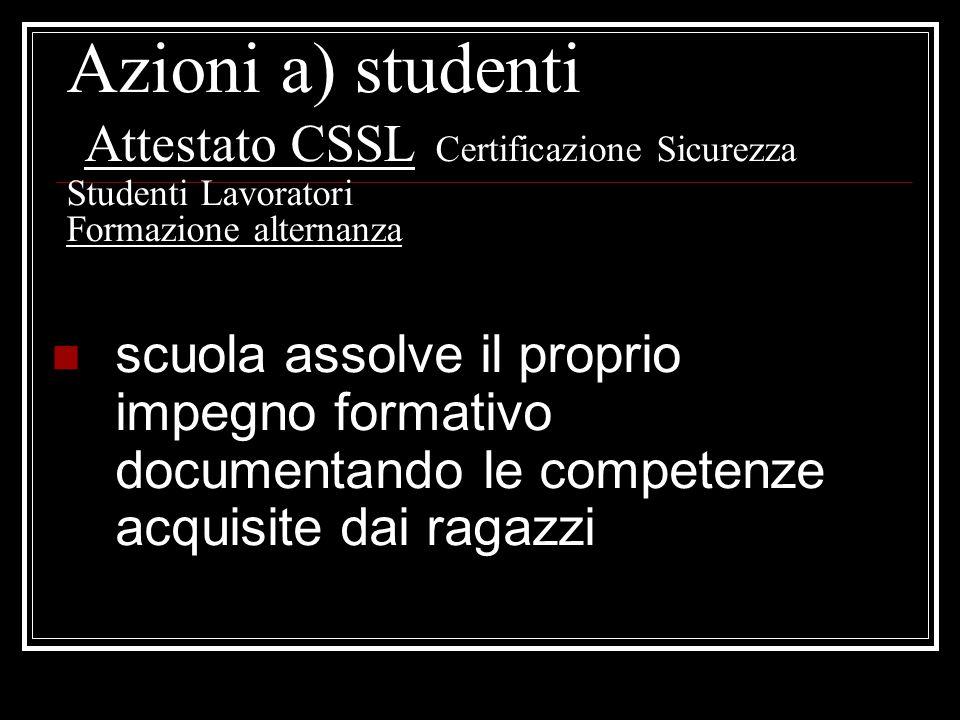 Azioni a) studenti Attestato CSSL Certificazione Sicurezza Studenti Lavoratori Formazione alternanza