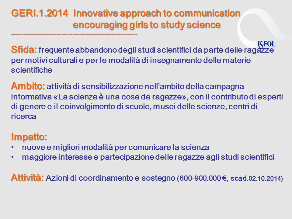 GERI.1.2014 Innovative approach to communication encouraging girls to study science ______________________________________________________________