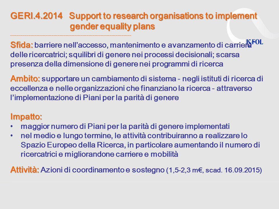 GERI.4.2014 Support to research organisations to implement gender equality plans ______________________________________________________________
