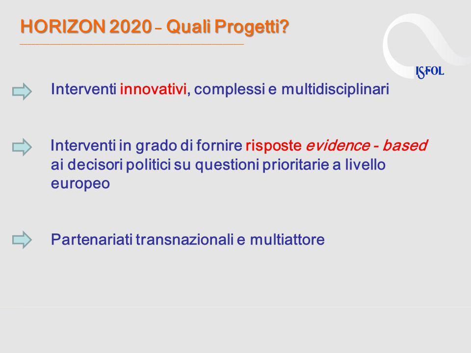 HORIZON 2020 – Quali Progetti