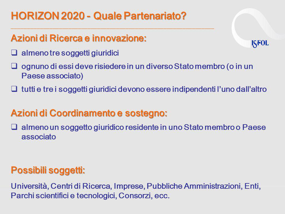 HORIZON 2020 - Quale Partenariato