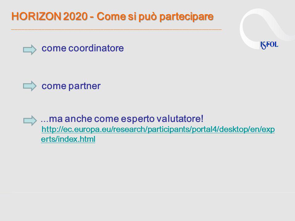 HORIZON 2020 - Come si può partecipare ________________________________________________________________