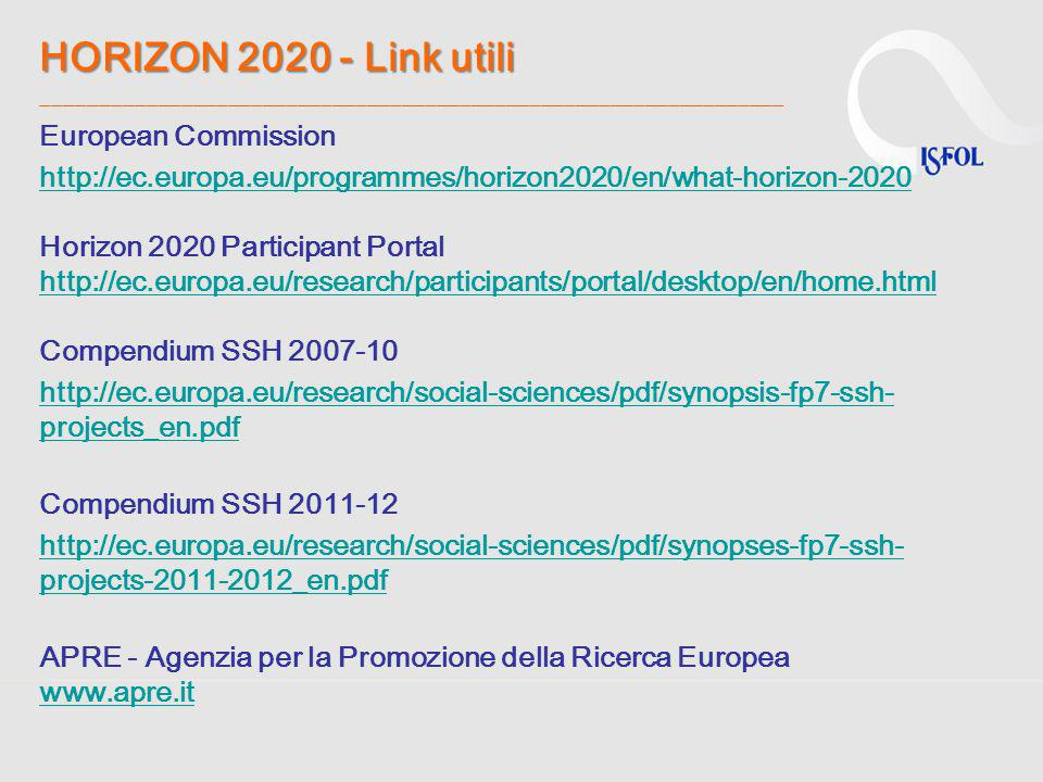 HORIZON 2020 - Link utili ________________________________________________________________