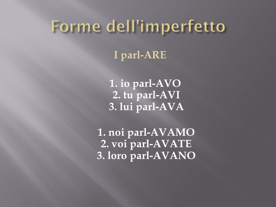 Forme dell imperfetto I parl-ARE 1. io parl-AVO 2.