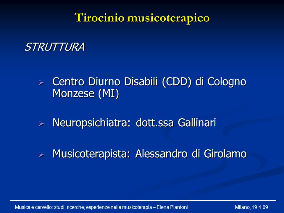 Tirocinio musicoterapico