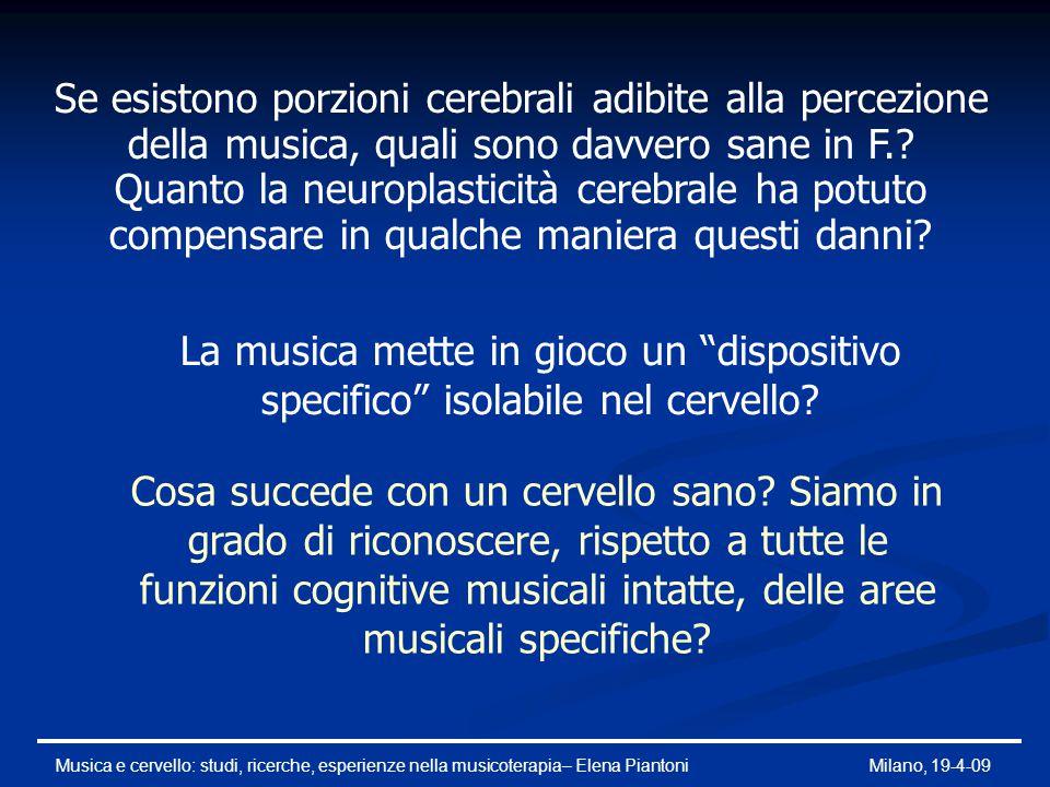 Se esistono porzioni cerebrali adibite alla percezione della musica, quali sono davvero sane in F.