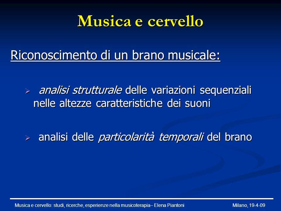 Musica e cervello Riconoscimento di un brano musicale: