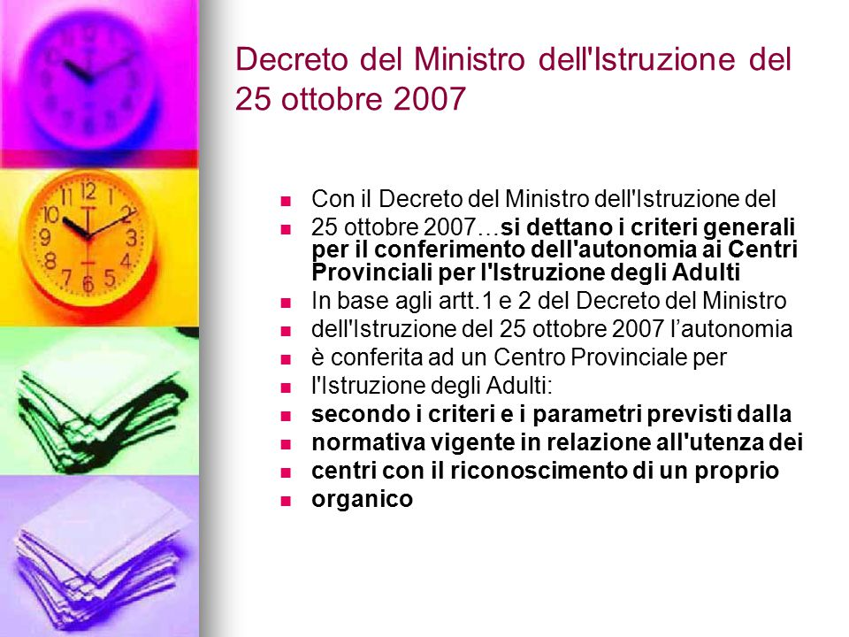 Decreto del Ministro dell Istruzione del 25 ottobre 2007