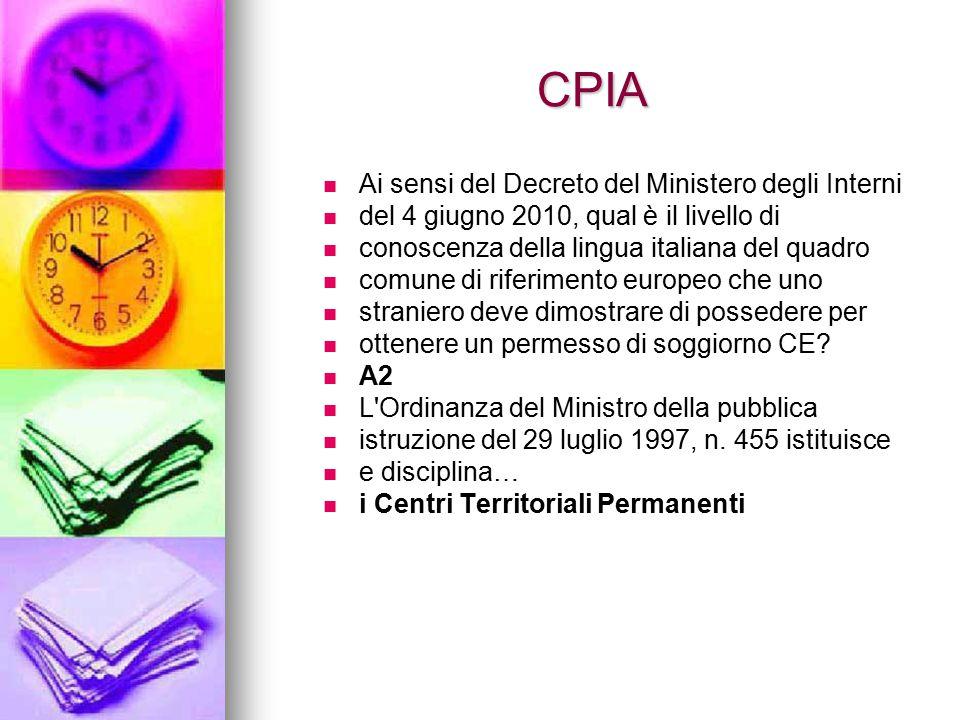 CPIA Ai sensi del Decreto del Ministero degli Interni