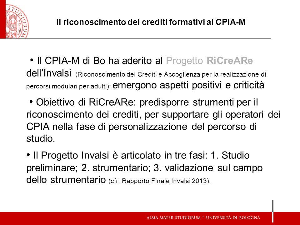 Il riconoscimento dei crediti formativi al CPIA-M