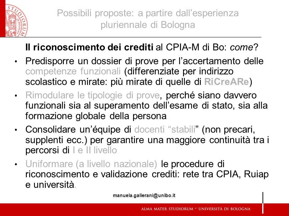 Possibili proposte: a partire dall'esperienza pluriennale di Bologna
