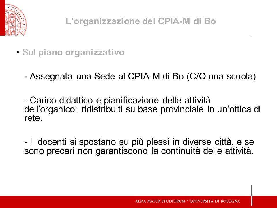 L'organizzazione del CPIA-M di Bo
