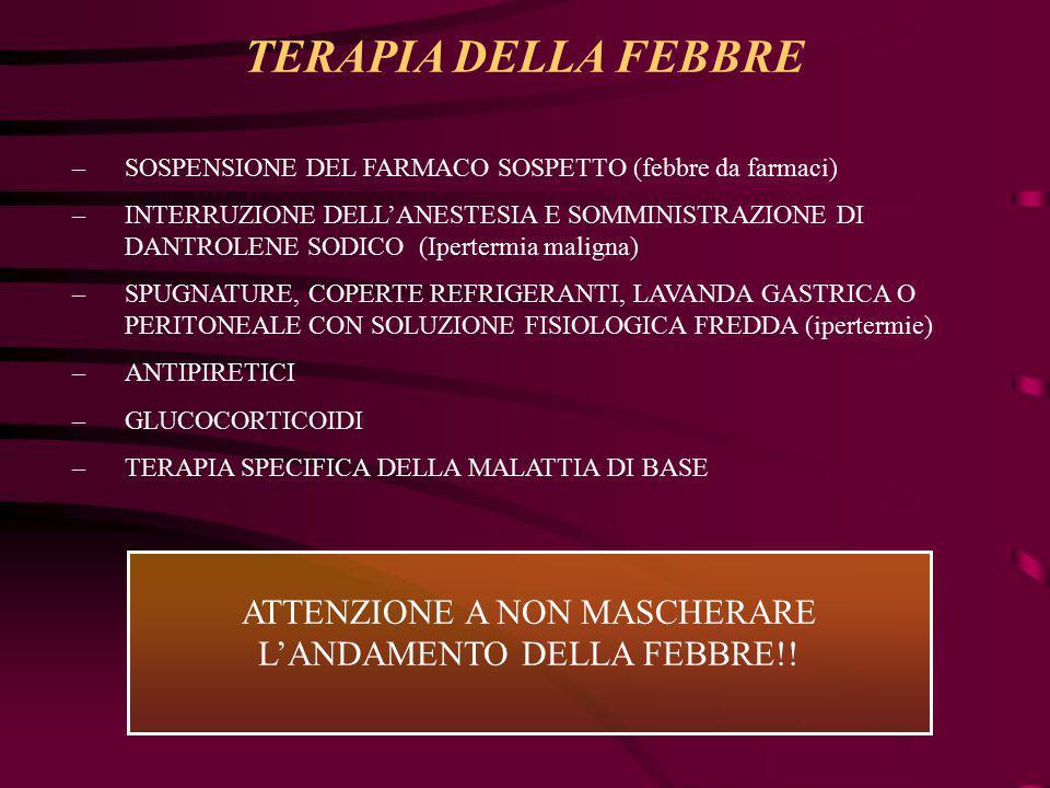 ATTENZIONE A NON MASCHERARE L'ANDAMENTO DELLA FEBBRE!!