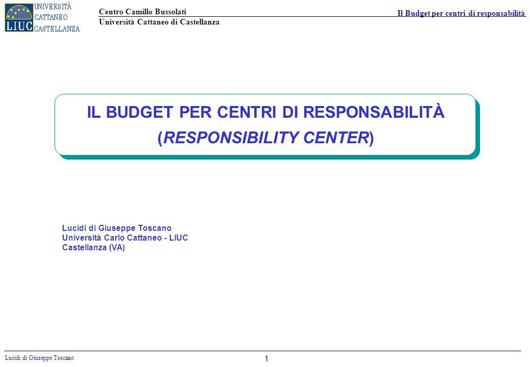 IL BUDGET PER CENTRI DI RESPONSABILITÀ (RESPONSIBILITY CENTER)