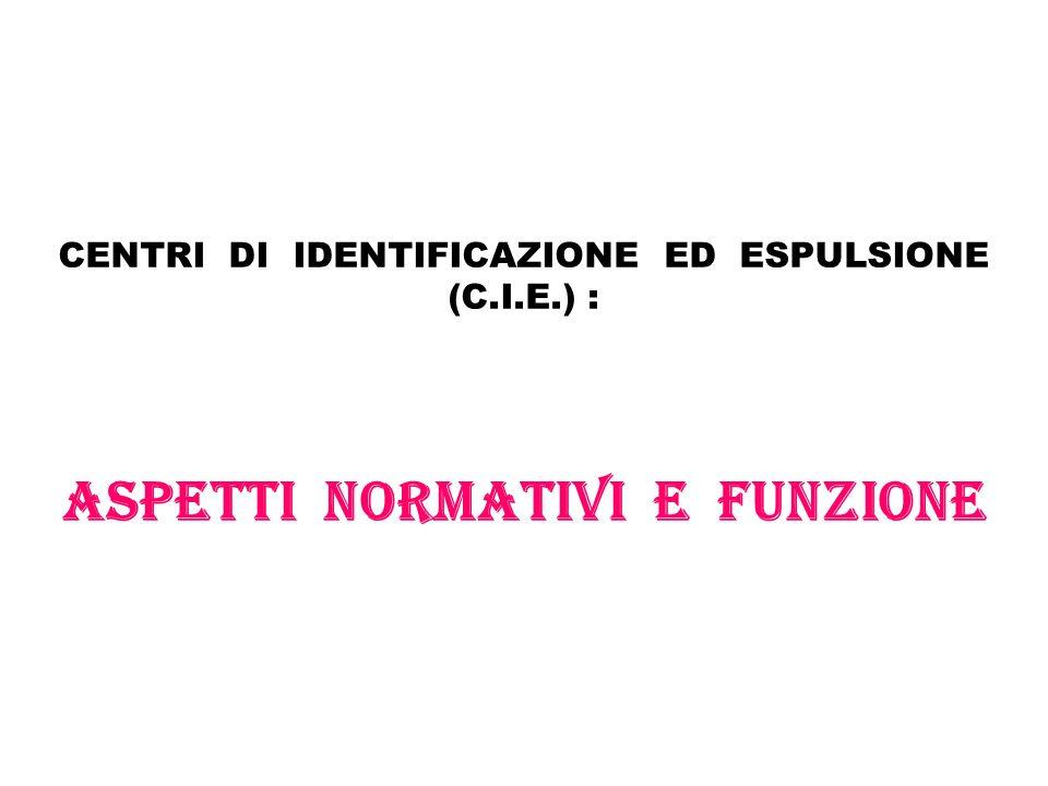 CENTRI DI IDENTIFICAZIONE ED ESPULSIONE (C. I. E