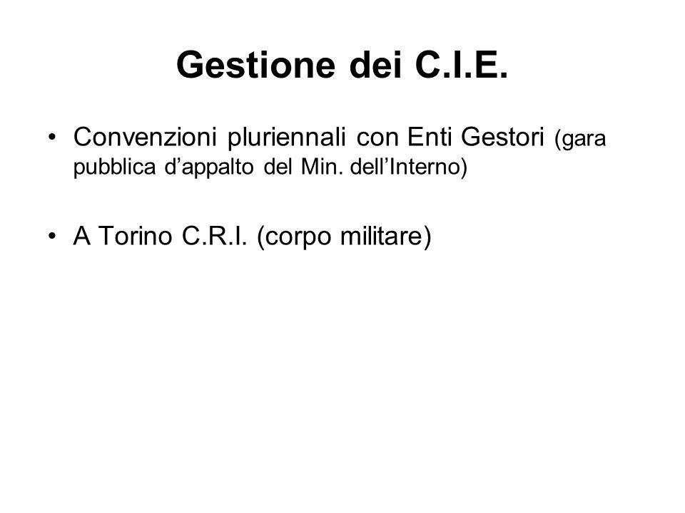 Gestione dei C.I.E. Convenzioni pluriennali con Enti Gestori (gara pubblica d'appalto del Min. dell'Interno)