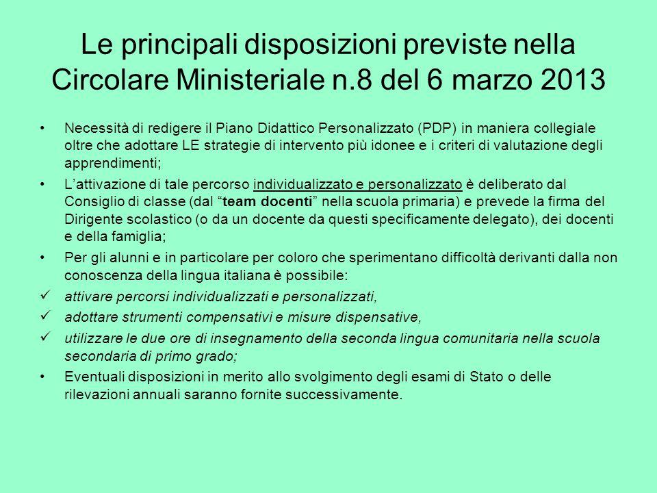 Le principali disposizioni previste nella Circolare Ministeriale n