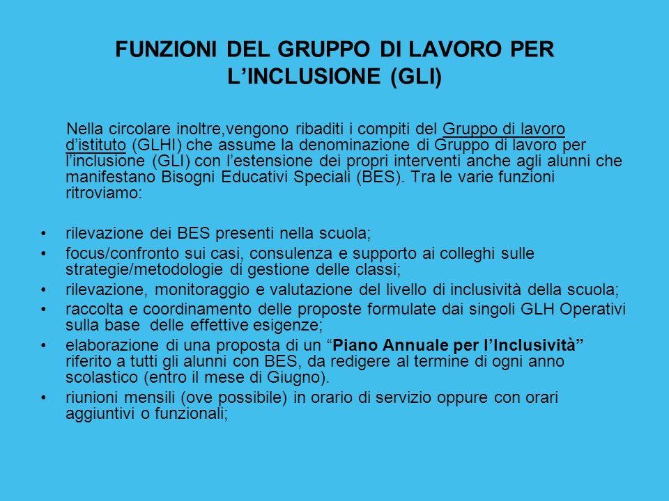 FUNZIONI DEL GRUPPO DI LAVORO PER L'INCLUSIONE (GLI)