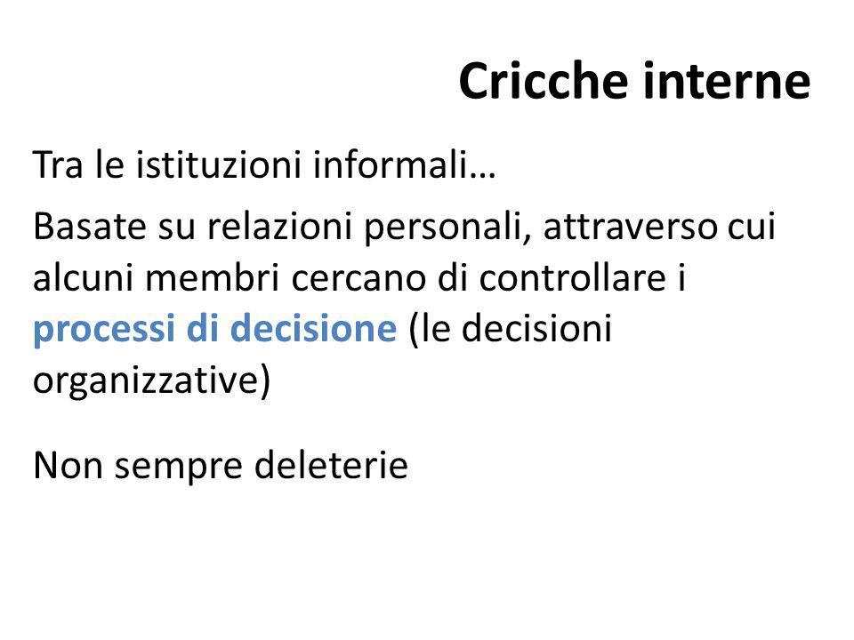 Cricche interne Tra le istituzioni informali…