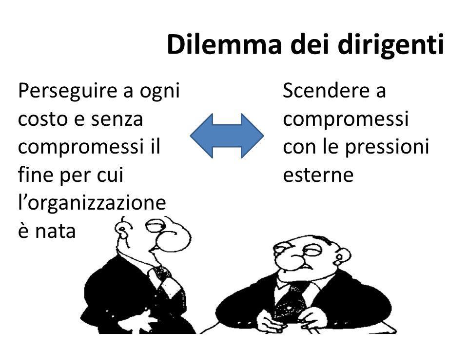 Dilemma dei dirigenti Perseguire a ogni costo e senza compromessi il fine per cui l'organizzazione.