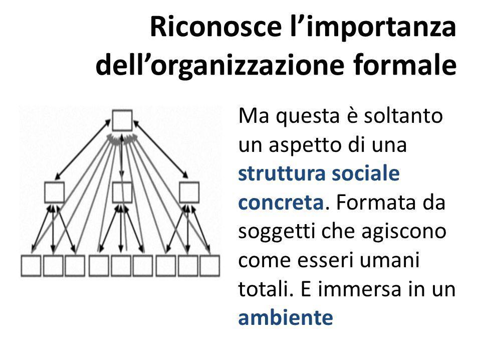 Riconosce l'importanza dell'organizzazione formale