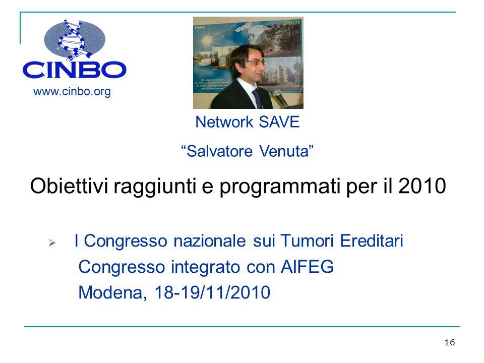 Obiettivi raggiunti e programmati per il 2010