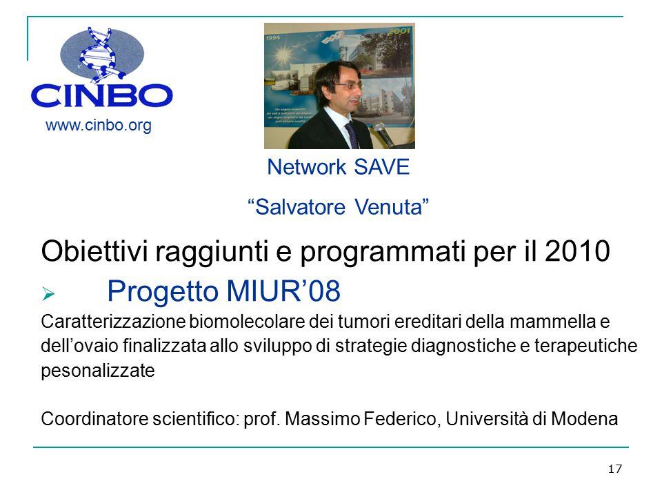 Progetto MIUR'08 Obiettivi raggiunti e programmati per il 2010