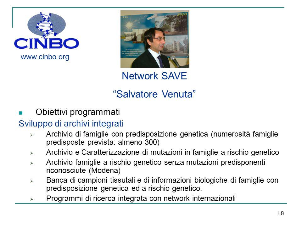 Network SAVE Salvatore Venuta Obiettivi programmati