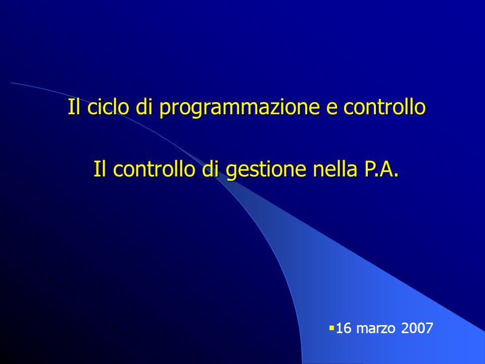 Il ciclo di programmazione e controllo Il controllo di gestione nella P.A.