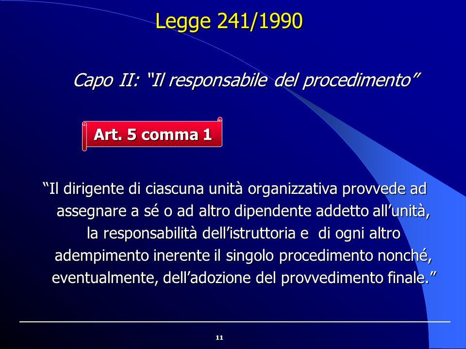 Capo II: Il responsabile del procedimento